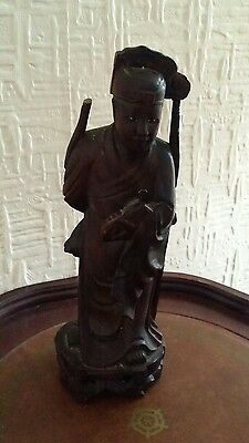 old chinese hard wood crafted figure