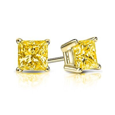 2 Ct Princess Cut Canary Earrings Studs Screw Back Basket Solid 14K Yellow Gold