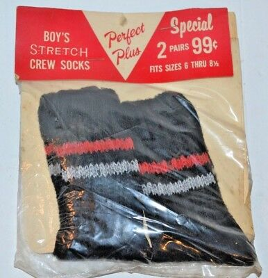 Vintage 60's Perfect Plus 2-Pack Boys Stretch Black Crew Socks SPAND-O-SOX 6-8.5