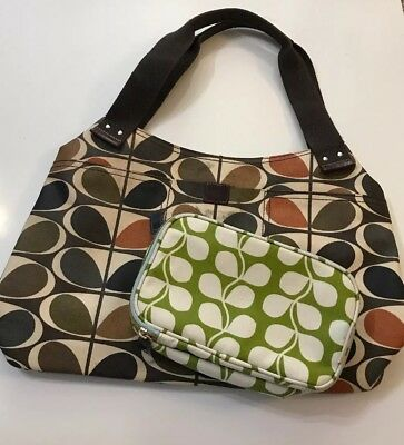 a1e722c36f1e Orla Kiely Large Holdall Bag Dark Brown Multi Stem Shoulder Tote w   Cosmetic Bag