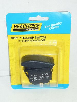 ROCKER SWITCH SEACHOICE 10921 NON-LIGHTED MOMENTARY ON//OFF//MOMENTARY ON BLACK