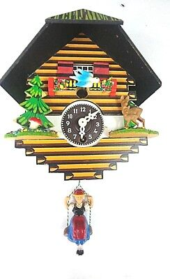 German style Mini Cuckoo Clock spring action Black Forest style no key