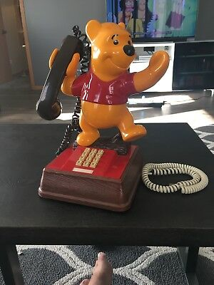 Rare Vintage Disney Winnie The Pooh Dial Telephone 15""