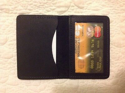 USA Made - BLACK Real Leather ID, Credit Card Case Holder SLIM thin Wallet