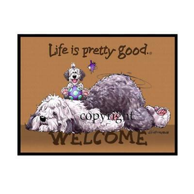 Old English Sheepdog Dog Life Is Good Cartoon Artist Doormat Floor Door Mat Rug