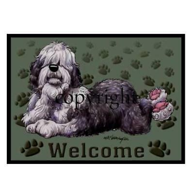 Old English Sheepdog Dog Paws Cartoon Artist Welcome Doormat Floor Door Mat Rug