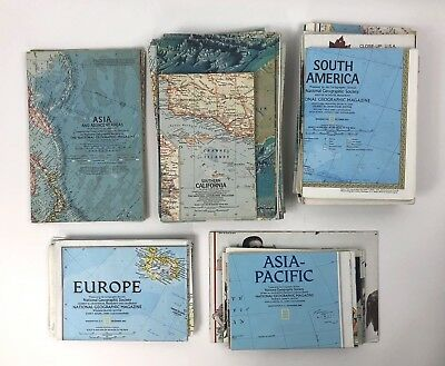 Vintage Lot Of 93 National Geographic Maps 1950s to 2000s
