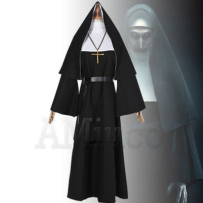 Women Nun Robes Dress For The Nun Valak Cosplay Costume The Conjuring Scary Suit