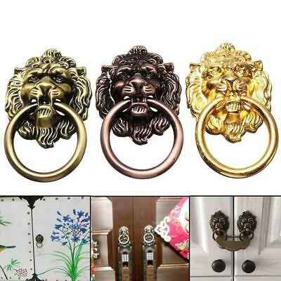 1x Vintage Lion Head Furniture Door Cabinet Dresser Drawer Pull Handle Knob Ring