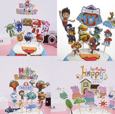 Unique Cartoon Figure Bunting Cake Topper Party Decoration Peppa Pig Paw Patrol