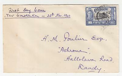 CEYLON, 1947 New Constitution 6c. on fdc.