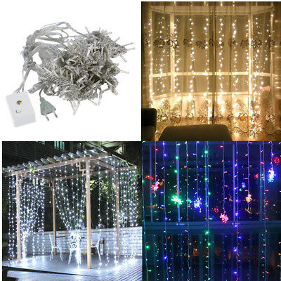 100/200/300/600 LED Curtain Fairy String Lights Wedding Outdoor Garden Party