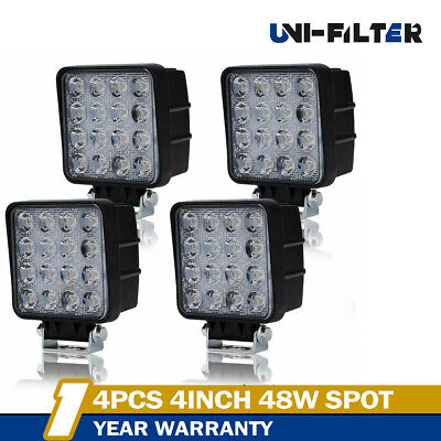 4x48W LED Work Light 5D Lens Truck OffRoad Tractor Flood Lights 12V 24V Square