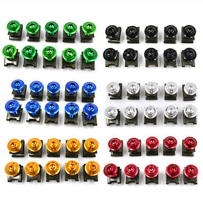 10PCS 6mm M6 Fairing Bolts Speed Fastener Clip Screw Nuts Motorcycle Universal