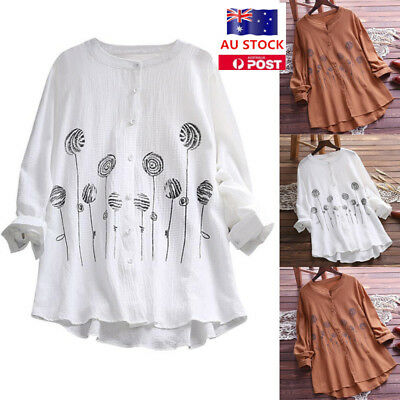 Plus Size Women Long Sleeve Cotton Tops Shirt Casual Loose Holiday Basic Blouse