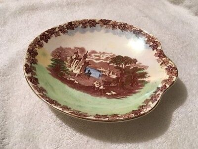 Vintage Maling Pottery Circular Dish With Landscape Scene