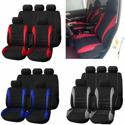 Car Seat Covers Protector Front Rear Head Rests Full Set Universal For SUV Auto