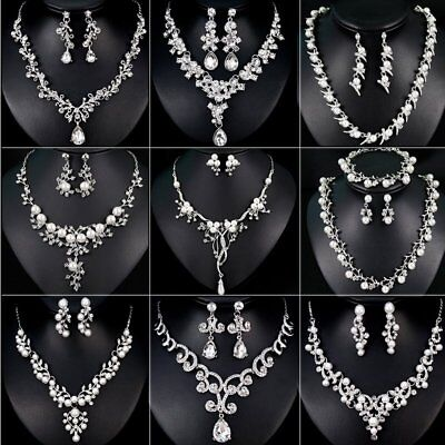 Wedding Bridal Crystal Necklace Earrings Jewellery Set Womens Costume Gift Party