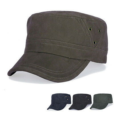 Mens Army Plain Hats Cotton Flats Vintage Washed Air Hole Stitching Outdoor Caps