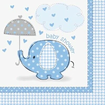 16 x Napkins 33cm 2ply Boys Blue Elephant Baby Shower Party Tableware Supplies