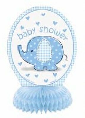 "4 Boys Baby Shower Honeycomb Decorations 6"" Blue Elephant Party Tableware New"