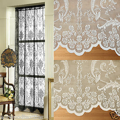 Victoria Lace Net Voile Slot Top Curtain Panel White, Ivory / Cream or Black