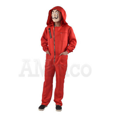 For Salvador Dali La Cosplay Casa De Papel Money Heist Red Jumpsuit Mask Costume