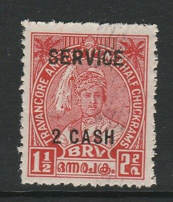 TRAVANCORE 1943 2ca ON 1½ca SCARLET PERF 12½ SG O106 MNH/ NO GUM AS ISSUED.