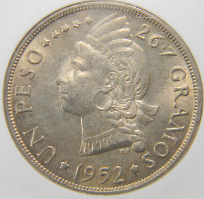 Dominican Republic 1952 1 Peso NGC MS 64  low mintage