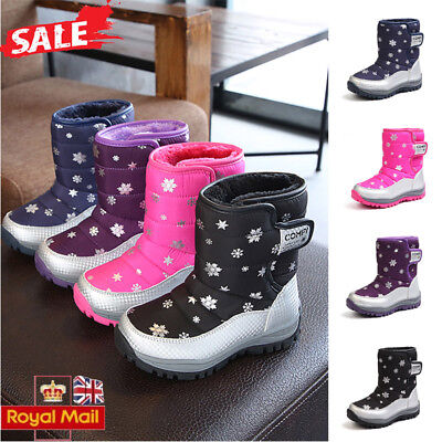 Kid Unisex Snowflake Print Winter Thick Warm Snow Boots Waterproof Wellies Shoes