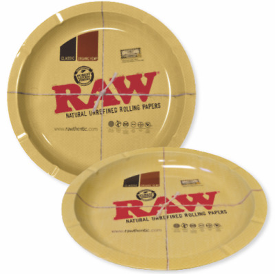 RAW Classic Brown Ashtray - 1 TRAY - Round Metal Cigarette Cigar Ash Tray Magnet