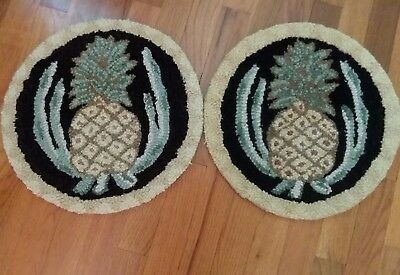 "Wool Hooked Rug Chair Pads (2) 14"" Round, ""pineapple"" Design"
