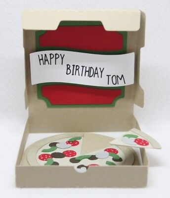 Handmade card Pizza in a box *FREE POST* birthday 21st personalised