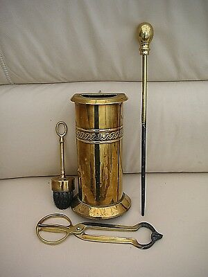 Vintage Solid Brass Companion  4 Piece Fire Set