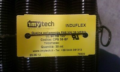 36mm id Flexible black non split cable conduit/trunking 30 meter roll..