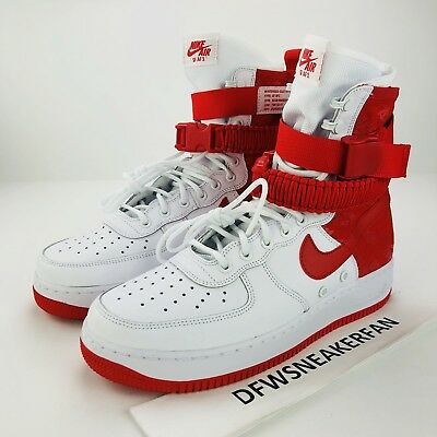 Nike Air Force 1 Special Forces SF Men SZ 13 White Red Sneakers AR1955-100 high