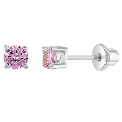 Rhodium Plated Pink Cubic Zirconia Screw Back Safety Earrings for Girls Kids 3mm