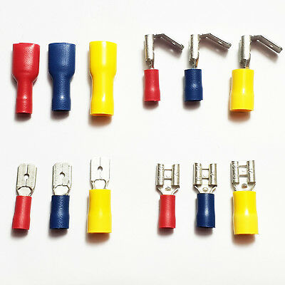Red Blue Yellow Insulated Crimp Spade Tab Terminals Electrical Connectors