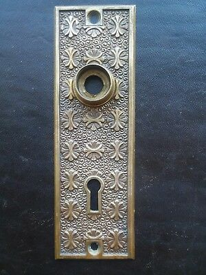 Beautiful Antique Brass Bronze Door Knob Back Plate Victorian Eastlake Solid