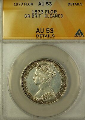 1873 Great Britain Florin Silver Coin Gothic Crown ANACS AU-53 Details Cleaned