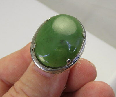 Estate Vintage Stunning Huge L S P Co Sterling Silver Bright Green Jade Ring