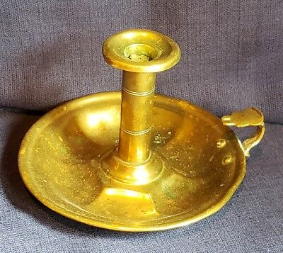 Antique Brass Chamber Stick Push-Up Candle Holder w/Finger Loop Old New England