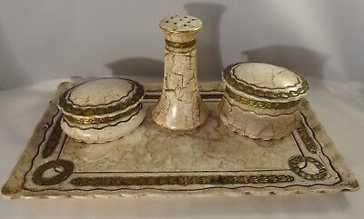 Dressing Table Dresser Set Brown & Cream Neo-Classical Gilded Marble Effect
