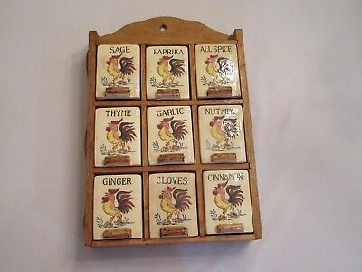 Vintage Rooster Spice Rack 9 Spice Containers Wood Rack Japan