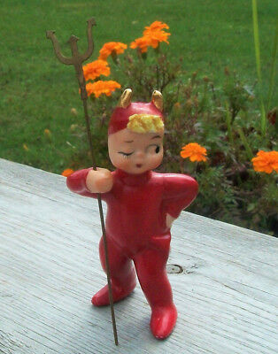 Vtg Japan RED DEVIL w PITCHFORK Ceramic Pixie Elf Figure Christmas Halloween TAG