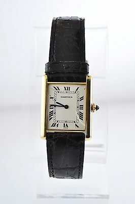 Cartier Paris Tank Mechanic Rectangle Wristwatch Triple Signed 18K YG $10K VALUE