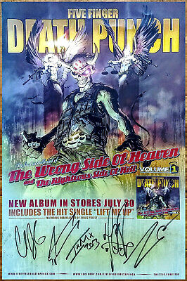 FIVE FINGER DEATH PUNCH The Wrong Side Of Heaven Ltd Ed Signed By All 5 Poster!