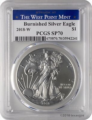 2018-W $1 Burnished American Silver Eagle PCGS SP70 - West Point Label