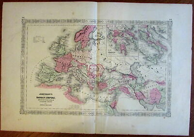 Roman Empire Ancient World 1864 large attractive hand color old map