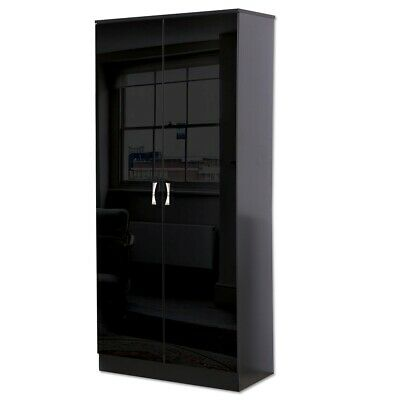 Black High Gloss 2 Door Double Wardrobe Bedroom Furniture Shelf & Hanging Rail.